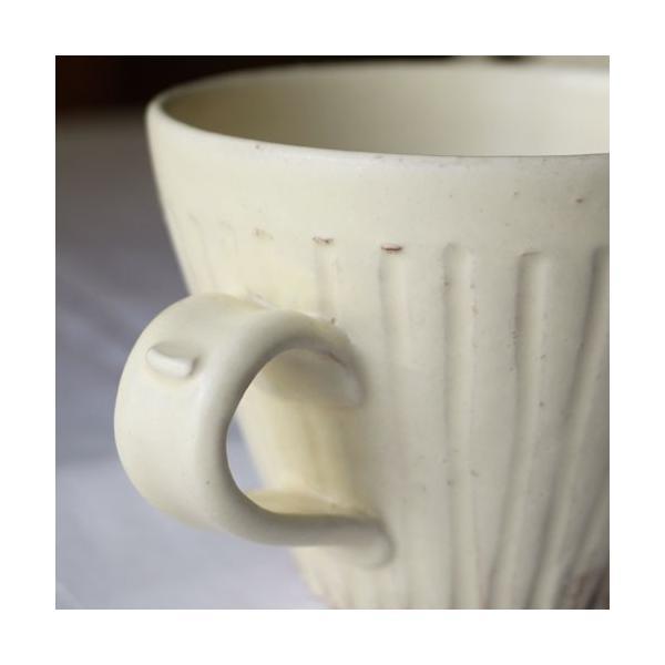 粉引マグカップ 白 シノギ 300cc 陶器 信楽焼 たっぷり カフェ おしゃれ cayest 06