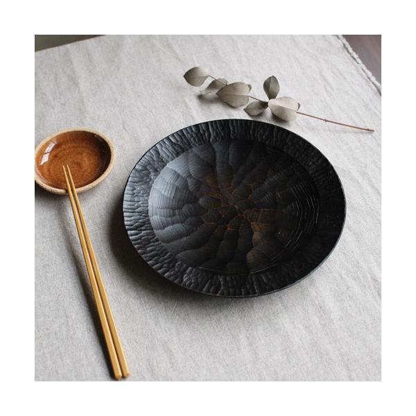 漆器 アルダー拭漆 木製食器 丸皿 21cm 7寸 ノミ目 甲斐幸太郎|cayest|03