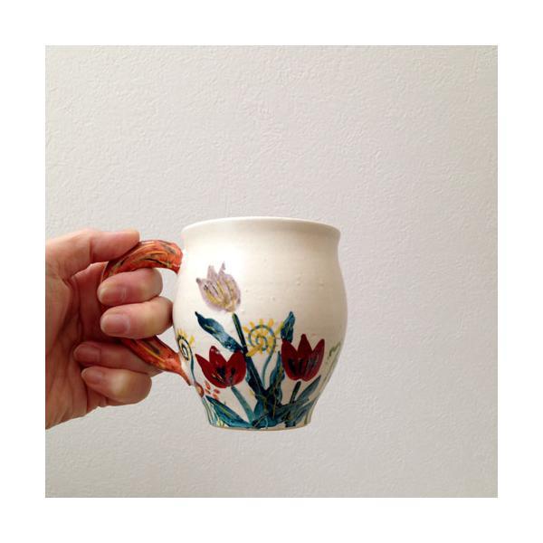 陶器 マグカップ チューリップ 野花 廣川みのり カラフル 作家の器|cayest|05