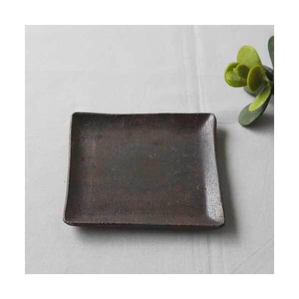 焼き締め 角皿 取り皿 銘々皿 丹波焼 12cm 正方形 食器 和食器|cayest