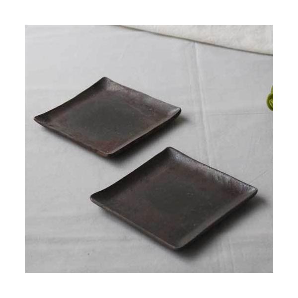 焼き締め 角皿 取り皿 銘々皿 丹波焼 12cm 正方形 食器 和食器|cayest|02