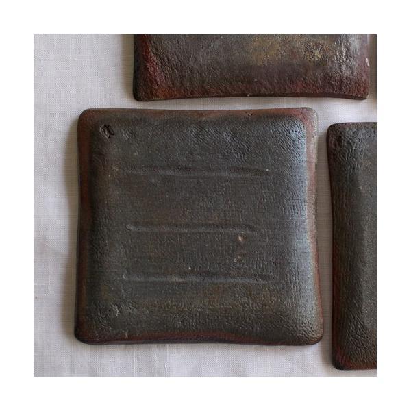 焼き締め 角皿 取り皿 銘々皿 丹波焼 12cm 正方形 食器 和食器|cayest|05
