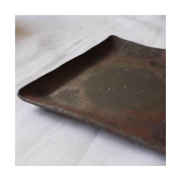 焼き締め 角皿 取り皿 銘々皿 丹波焼 12cm 正方形 食器 和食器|cayest|07
