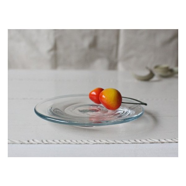 ガラス小皿 丸皿 銘々皿 吹きガラス 手作り 12cm 青フチ hono工房|cayest