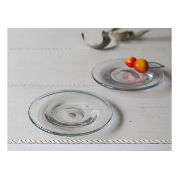 ガラス小皿 丸皿 銘々皿 吹きガラス 手作り 12cm 青フチ hono工房|cayest|02