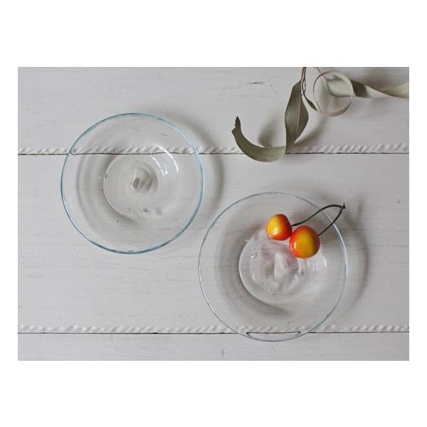 ガラス小皿 丸皿 銘々皿 吹きガラス 手作り 12cm 青フチ hono工房|cayest|04