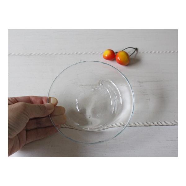 ガラス小皿 丸皿 銘々皿 吹きガラス 手作り 12cm 青フチ hono工房|cayest|05