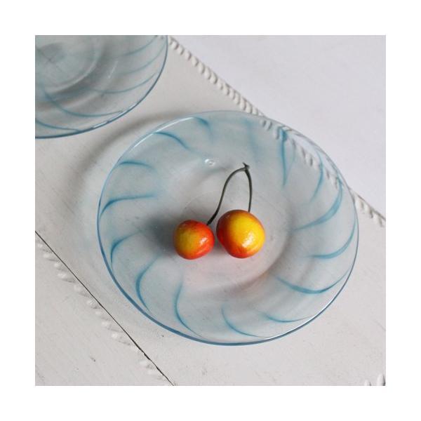 ガラス小皿 丸皿 吹きガラス 手作り 14cm 青ライン hono工房 cayest