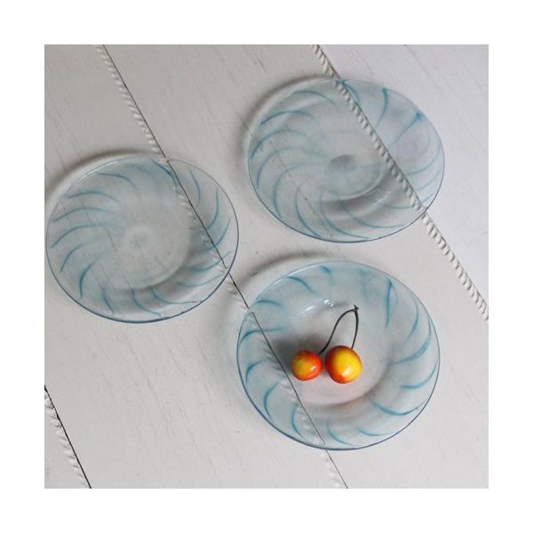 ガラス小皿 丸皿 吹きガラス 手作り 14cm 青ライン hono工房 cayest 02