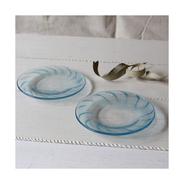ガラス小皿 丸皿 吹きガラス 手作り 14cm 青ライン hono工房 cayest 03