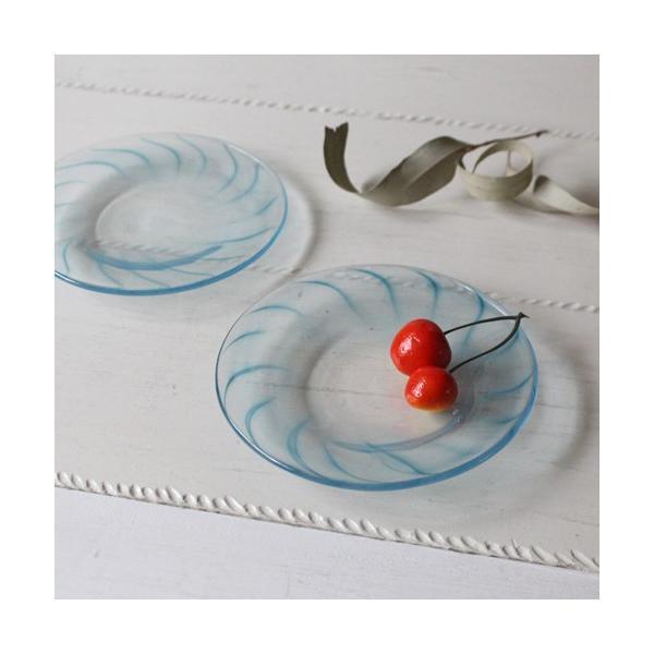 ガラス小皿 丸皿 吹きガラス 手作り 14cm 青ライン hono工房 cayest 04