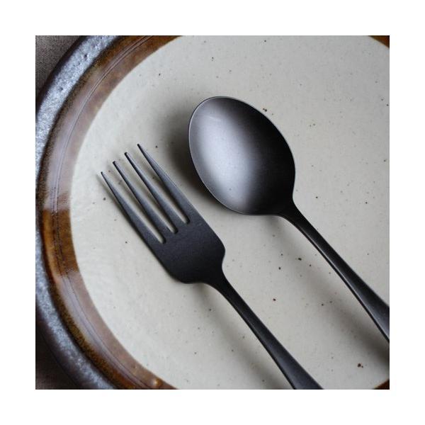 デザートスプーン デザートフォーク カレースプーン ステンレス カトラリー 日本製 黒 マット おしゃれ|cayest
