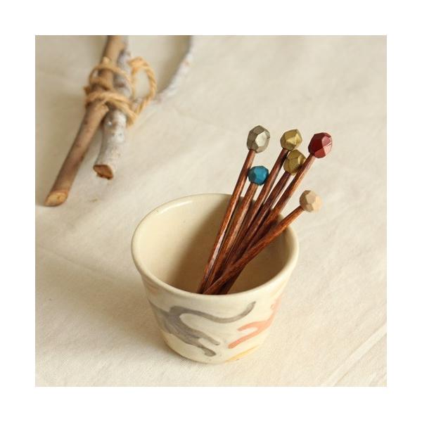 木製ピック漆塗り 多角形飾り付き 楊枝 ピンチョス 手作り おしゃれ|cayest