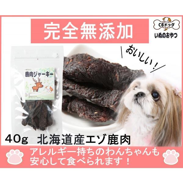 鹿肉【ジャーキー】【犬のおやつ 無添加】【犬のおやつ 鹿肉】【犬のおやつ アレルギー】完全無添加 北海道産 エゾ鹿  アレルギーのあるわんちゃんに 40g|cbdog
