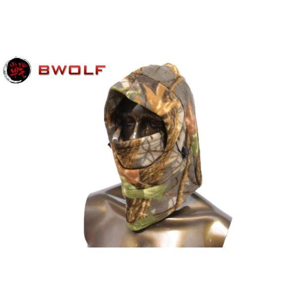 BWOLF フリース生地 起毛 3WAY ネックウォーマー フードウォーマー フェイスマスク 枯葉迷彩 落葉迷彩 (RZ15)