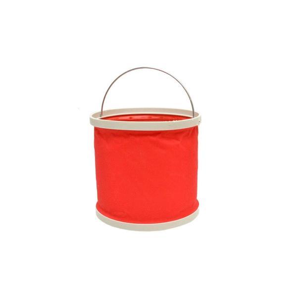 ナイロン 8L 8リットル 丸型 折り畳みバケツ 災害 釣り BBQ アウトドア (レッド 赤色)