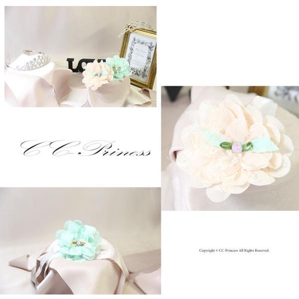 『ベビー・花のヘアバンド』赤ちゃん ベビー  夏 ヘア アクセサリー ヘッドドレス  髪飾り  キッズアクセサリー   結婚式   ピンク ミント