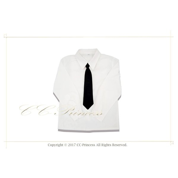 42985bca96669 小型宅配対応 『子供用・白の長袖ワイシャツと黒いネクタイのセット(大 ...
