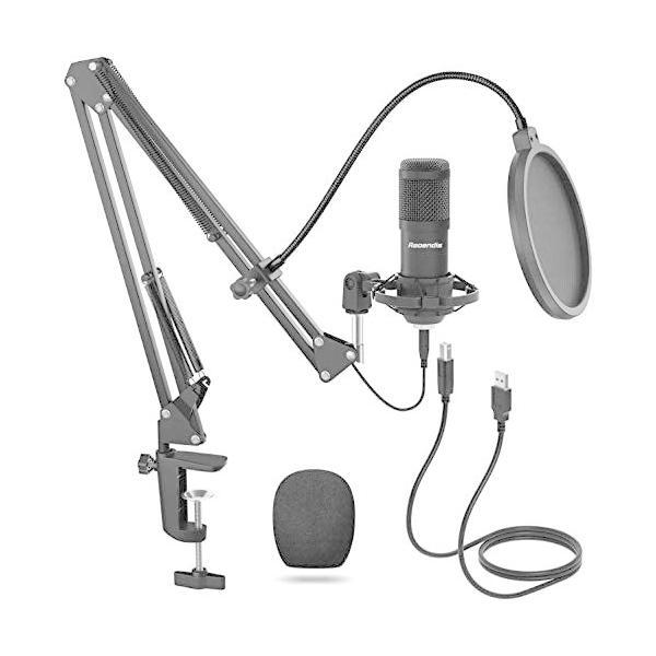 コンデンサーマイク USB マイク PC マイクセット マイクスタンド 高音質 アームスタンド付き 録音 生放送 YOUTUBE|cc2021