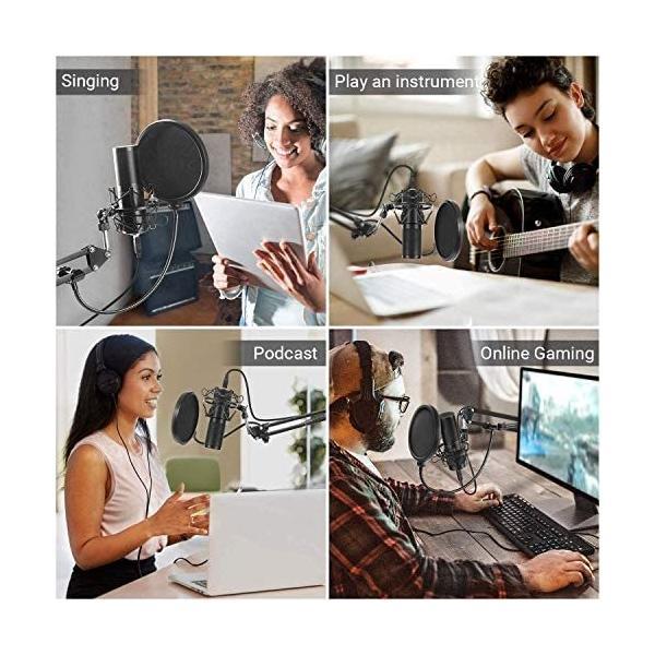 コンデンサーマイク USB マイク PC マイクセット マイクスタンド 高音質 アームスタンド付き 録音 生放送 YOUTUBE|cc2021|02
