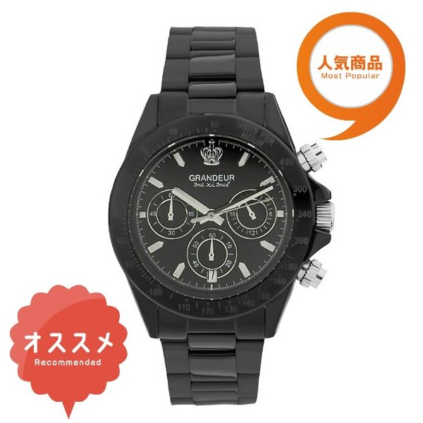 d9ba53c286 日本製 紳士用クロノグラフ腕時計 メタルバンド ステンレス高級無垢素材 ...