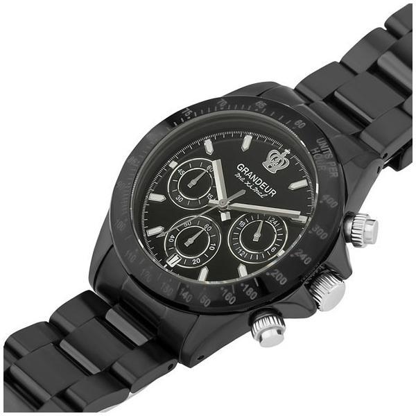 710e1bd74e ... 日本製 紳士用クロノグラフ腕時計 メタルバンド ステンレス高級無垢素材 GRANDEUR グランドール ...