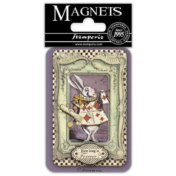 スタンペリア Stamperia イタリア マグネット Magnet 8x5.5cm 不思議の国のアリス ホワイトラビット White rabbit EMAG032