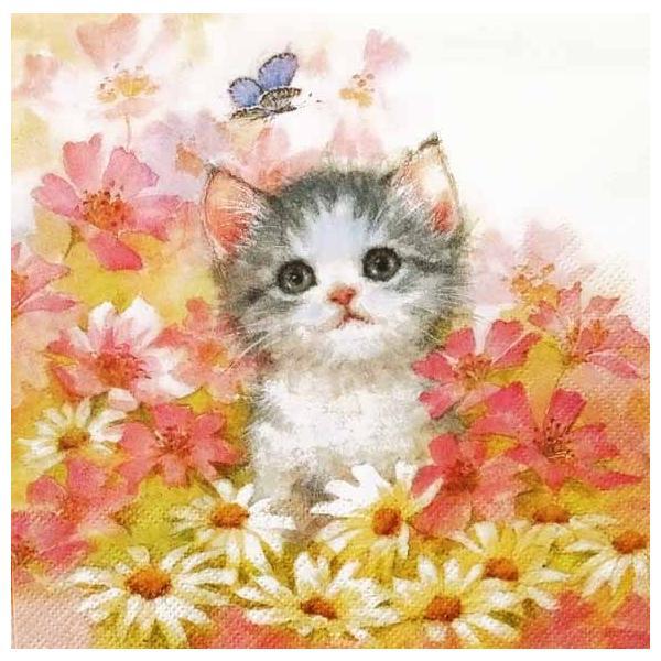 IHR ドイツ ペーパーナプキン ドイツ 花園の子猫 LITTLE JEANY バラ売り2枚1セット L-814500 デコパージュ ドリパージュ|ccpopo