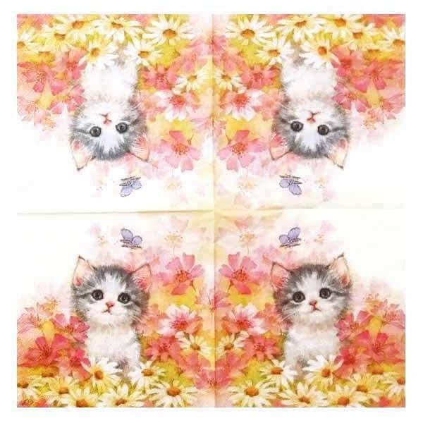 IHR ドイツ ペーパーナプキン ドイツ 花園の子猫 LITTLE JEANY バラ売り2枚1セット L-814500 デコパージュ ドリパージュ|ccpopo|02