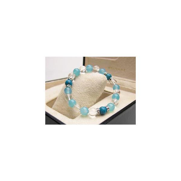 パワーストーン ブレスレット ターコイズ シーブルーカルセドニー 水晶 天然石 ccr 03
