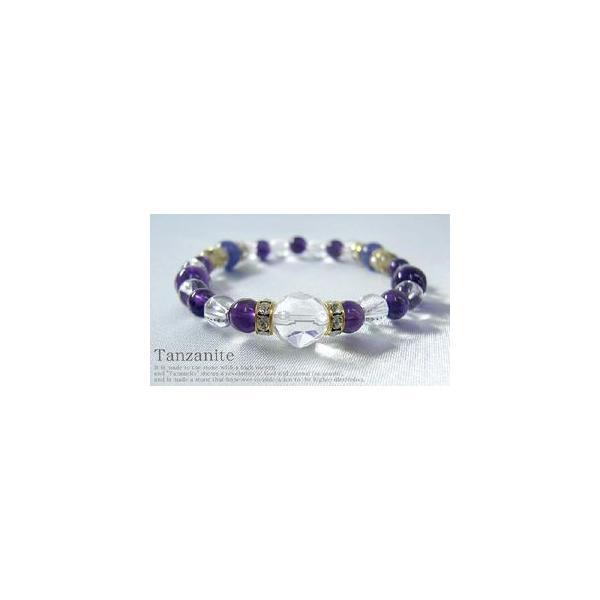 パワーストーン ブレスレット タンザナイト 水晶 天然石