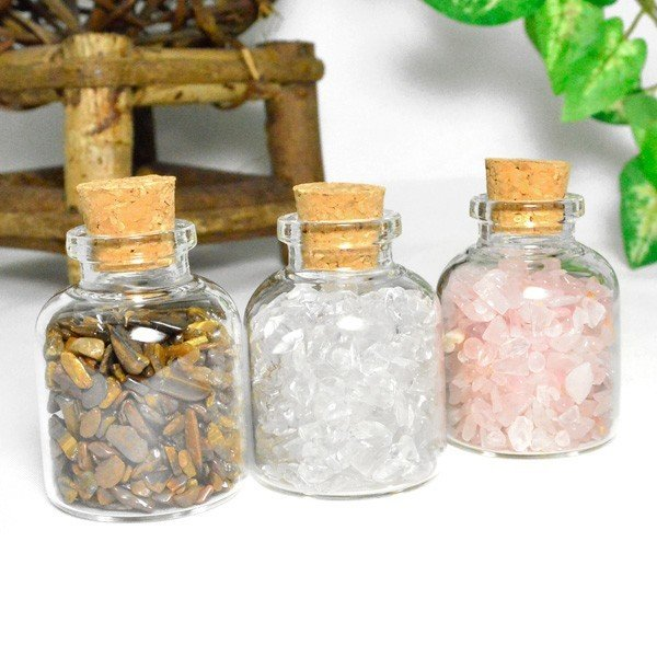 送料無料 パワーストーン さざれ石 ガラス小瓶 ローズクォーツ 水晶 タイガーアイ 天然石