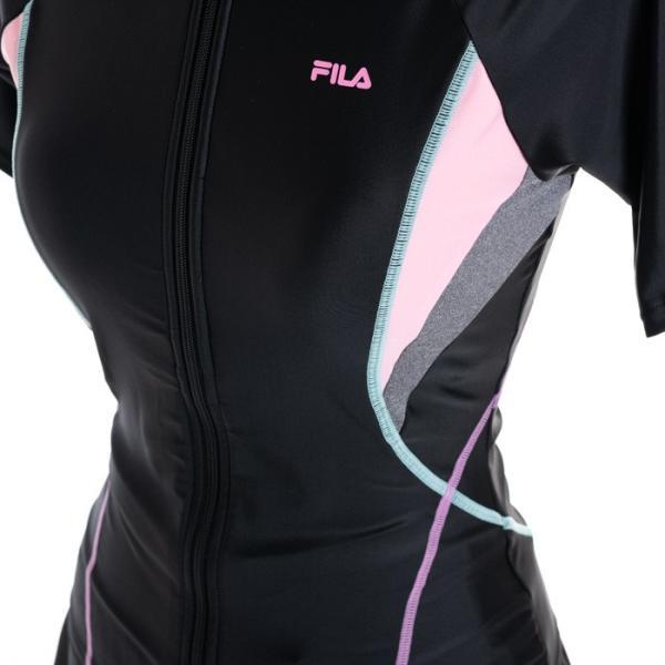 FILA フィットネス水着 レディース カラー切替フルジップ4点セット セパレート フィラ 大きいサイズ 15-19号|cdmcloset|03