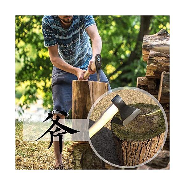 斧 野外キャンプ用品 薪割り 手斧 38cm 鉈 ガーデン用手斧 ケース付き 焚き火台|cecilia|02