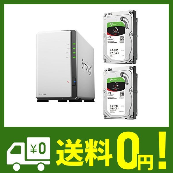 【NAS HDDセット】Synology DS218j & Seagate HDD [2ベイ / HDD IronWolf-4TBx2台同梱 / デュ|cecilia
