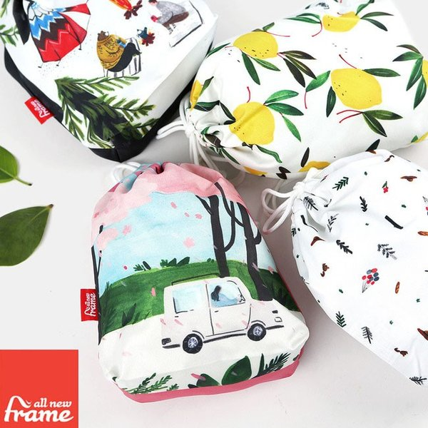 All New Frame String Pouch Collection A - Medium トラベルポーチ かわいい 旅行ポーチ 収納ポーチ オムツポーチ  化粧ポーチ コットン生地 お弁当 巾着袋