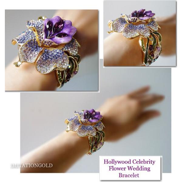 ブライダル ブレスレット 花 フラワー 紫 パープル パーティ18金 ハリウッド セレブ ブライダル ジュエリー