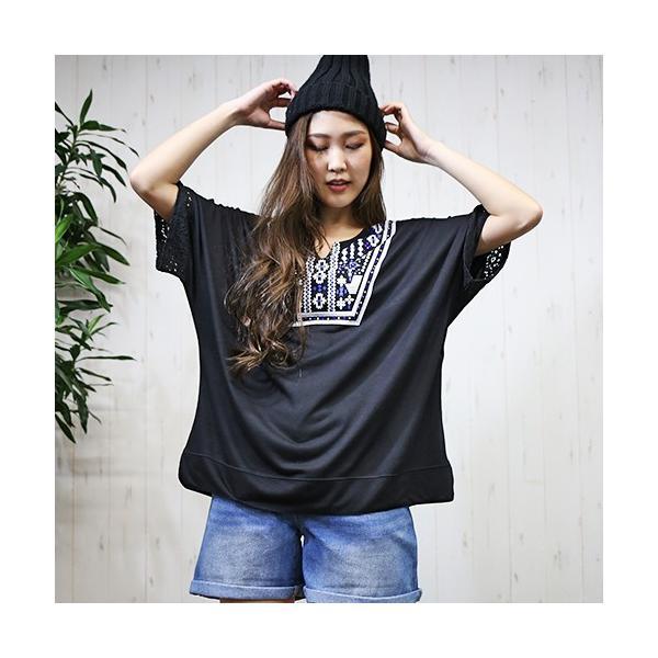 大きいサイズ レディース エスニック ドルマンチュニック Tシャツ トップス 流行りのネイティブ柄 celeb-honey 02
