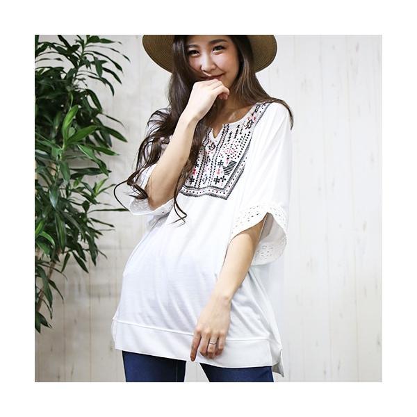 大きいサイズ レディース エスニック ドルマンチュニック Tシャツ トップス 流行りのネイティブ柄 celeb-honey 08