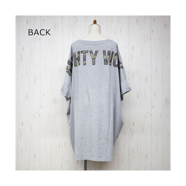 大きいサイズ レディース ドルマン カモフラポケット バックプリントあり ビッグドルマンTシャツ |celeb-honey|12