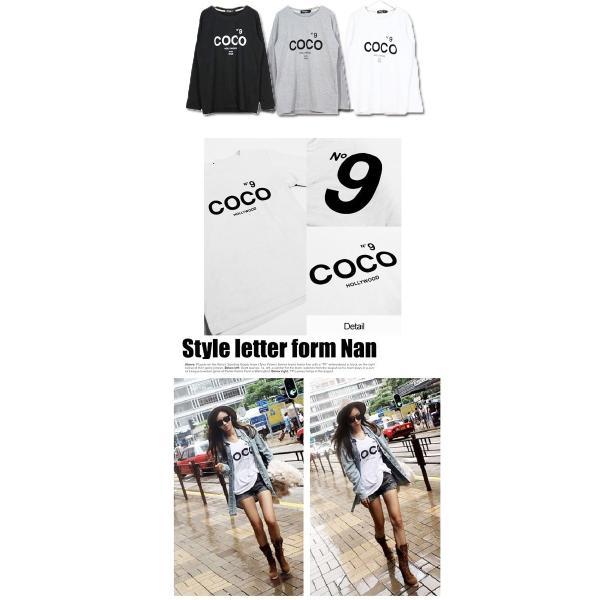 大きいサイズレディース N9プリント COCOロゴ HOLLYWOOD 長袖 Tシャツ 取寄 celeb-honey 03