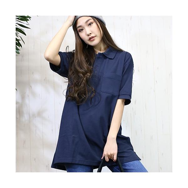 大きいサイズ レディース ファッション 半袖ポロシャツ ビッグポロシャツ 無地 鹿の子|celeb-honey|05