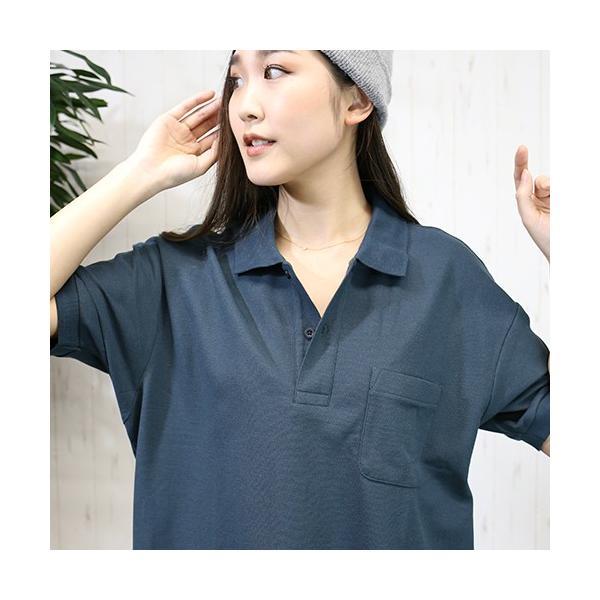 大きいサイズ レディース ファッション 半袖ポロシャツ ビッグポロシャツ 無地 鹿の子|celeb-honey|06