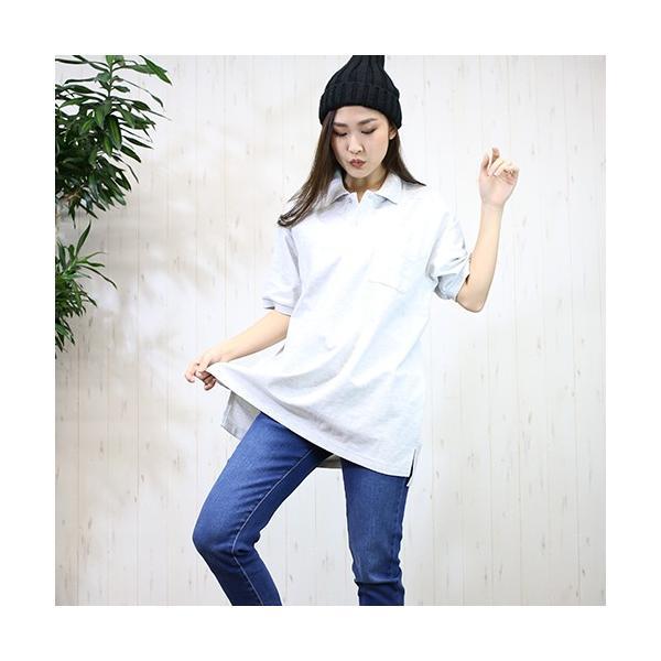 大きいサイズ レディース ファッション 半袖ポロシャツ ビッグポロシャツ 無地 鹿の子|celeb-honey|08