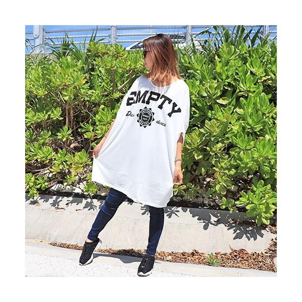 大きいサイズ レディース Tシャツ ドルマン オーバーサイズ ビック 英字ロゴプリント EMPTY ストリート/40代 50代 30代 春夏 2019ss(即納)|celeb-honey|06