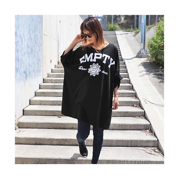 大きいサイズ レディース Tシャツ ドルマン オーバーサイズ ビック 英字ロゴプリント EMPTY ストリート/40代 50代 30代 春夏 2019ss(即納)|celeb-honey|08