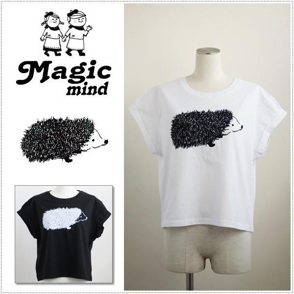 MagicMind マジックマインド 半袖 ロールアップ ショート丈 Tシャツ 手書きハリネズミ 1163-S プリントTシャツ|centas