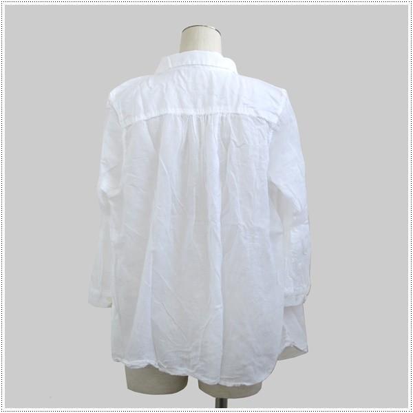 SunValley サンバレー  無地8分袖ボイルギャザーシャツ  SKT002007 製品染め レディース 綿 ブラウス|centas|04