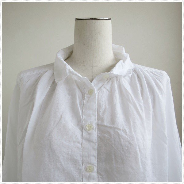 SunValley サンバレー  無地8分袖ボイルギャザーシャツ  SKT002007 製品染め レディース 綿 ブラウス|centas|06