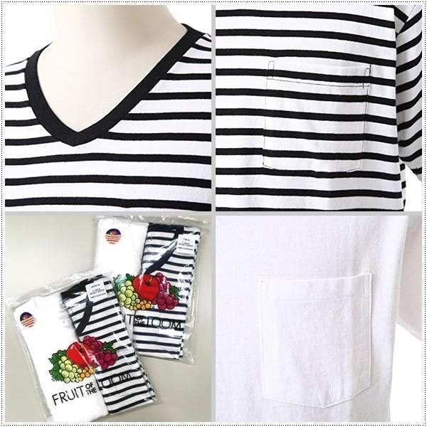 FRUIT OF THE LOOM 922-FRDH2 Vネック ホワイトTシャツ+ボーダーTシャツ2枚セット フルーツオブザルーム|centas|04